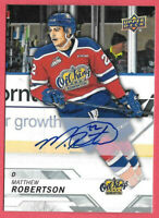 2018-19 Matthew Robertson Upper Deck CHL Rookie Auto - New York Rangers