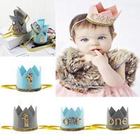 Baby Toddler Boys Numbers 1st Birthday Party Crown Hat Headband Hairband Tiara