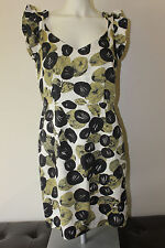 Leifsdottir Anthropology dress sz 10 silk cotton blnd sheath ruffled cap sleeve