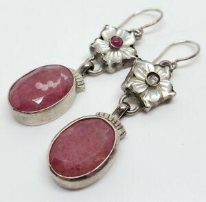 Artisan Shano Sterling Silver Faceted Pink Rhodonite Gem MOP Floral Earrings