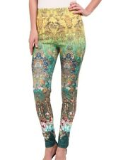 KAS New York Womens Leggings Yellow Green Size XS Floral Mosaic Stretch $50 265
