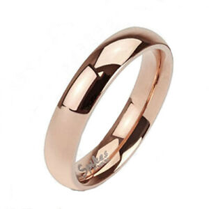Solid Titanium Rose Gold 4mm or 6mm Plain Band Ring Size 4.5-13