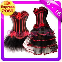 New Burlesque Black Satin Bustier Lace up corset skirt S M L XL 2XL Costume