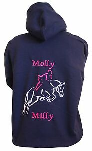 Personalised embroidered horse pony hoodie jumping outline, change the colours