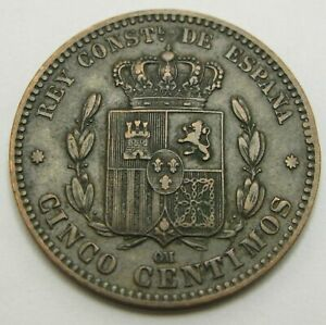 SPAIN 5 Centimos 1878 OM - Bronze - Alfonso XII. - VF+ - 1147