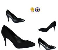 NEW UK LADIES OFFICE WORK SHOES STILETTO POINTED HEELS ROUND TOE COURT SIZE 3-8