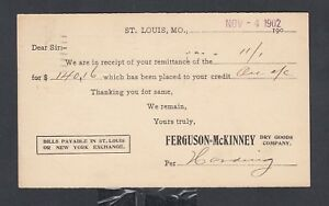 USA 1902 FERGUSON MCKINNEY DRY GOODS ADVERTISING PS CARD ST LOUIS FAIR SLOGAN