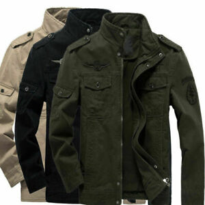 Mens Army Military Style Jacket Tactical Combat Coat Casual Zip Outwear Tops UK