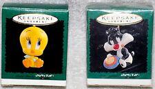 NEW! 1996 Hallmark MINI Ornament BABY SYLVESTER & TWEETY SET Looney Tunes Babies