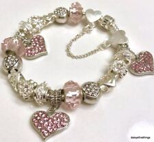 AUTHENTIC PANDORA  BRACELET W/ CHARMS PINK HEARTS LOVE CHOICE OF BOX