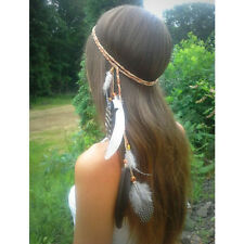 Boho Women Feather Bead Weave Hair Band Headband Simple Indian Hair Accessories