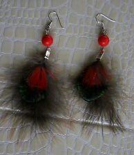 Boucles d'oreille Création plume ara paon faisan perle n°45 L11 cm neuves