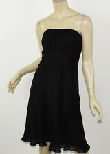 WHITE HOUSE BLACK MARKET Solid Silk Chiffon Strapless Grecian Flare Dress 0 XS