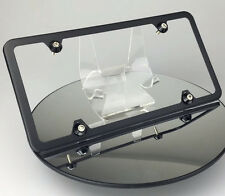 Slim 4 Holes Matte Black Porsche Bmw License Plate Frame w/ Aluminum Circle Caps