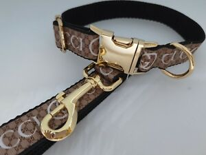 """Dog Collar and Lead 15"""" - 22 """" neck size.  FREE FABRIC DESIGN Gold Metal Buckle"""