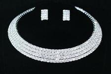 Necklace & Earrings Set Silver Plated White Rhinestone Choker Wedding Prom