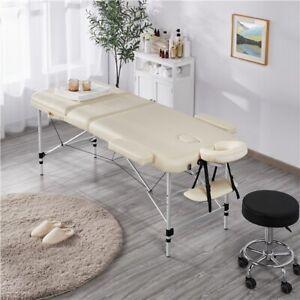 Massageliege Massagebank Massagetisch Therapieliege Aluminium 3 Zonen Beige