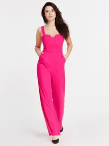 NEW GUESS BY MARCIANO PINK CREPE JUMPSUIT WIDE LEG M
