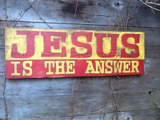 """JESUS IS THE ANSWER Billboard Style Hand Panted Wooden Sign - 34"""" x 11"""""""