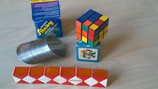 Vintage RUBIKS RUBIK'S STYLE SNAKE CUBE Red White orange + Cube & Metal Slinky