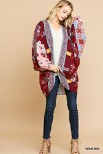 PLUS  XL/1XL/2XL UMGEE WINE Multicolor SCARF PRINT Cocoon Cardigan/Kimono BHCS