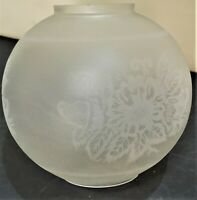 Vintage Victorian Art Nouveau Frosted Etched Glass Oil Lamp Shade