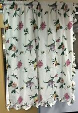 Modern Frilled Floral Ready Made Curtain Pair Fully Lined With Tie Backs