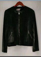 Vanessa Williams Motorcycle  Denim Look Moto Jacket Charcoal Gray SZ M