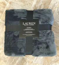 """New Ralph Lauren - Full/Queen Classic Micromink Blanket -Charcoal Gray- 90""""x 90"""""""