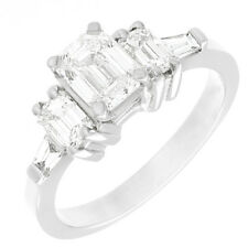 GIA Certified Platinum 1.90 Carat Emerald Cut Diamond Engagement Ring