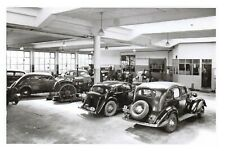 More details for vintage repro postcard, c1935 workshop with cars and tractor bm6