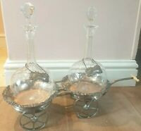 Rare Old Sheffield Plate Double Wine Decanter Trolley, Decanters & Labels, c1820