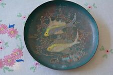Vintage Mid Century Fish on The Ocean Enamel on Copper Small Plate Dish