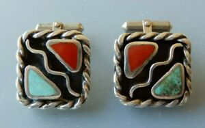 """Vintage Navajo Sterling Cufflinks, Inset Turquoise & Coral 7/8"""" Wide HAND MADE"""