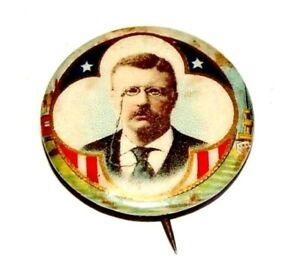 """1904 TEDDY ROOSEVELT 7/8"""" theodore campaign pin pinback button badge political"""