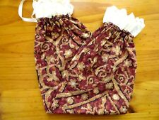 PLASTIC BAG HOLDERS IN BROWNS & RED SWIRLS WITH CREAM LACE 40CM X 55CM