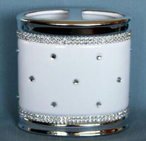 Bella Lux White Ceramic Varied Rhinestones & Chrome Oval Toothbrush Holder NEW