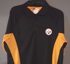 Pittsburgh Steelers Large Polo shirt Yellow Black NFL Majestic New