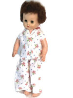 """Vintage Rubber Baby Doll In Hand Sewn Pajamas Brown Rooted Hair 14"""" Marked """"A"""""""