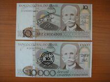 Lot de 2 billets Brésil, Brazil, Brasil, 10 et 10000