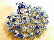 Blue and Aurora Borealis Austrian Crystals Peacock Brooch Pin w/ Bonus Necklace