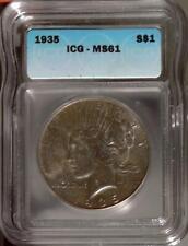 1935-S Peace Dollar | ICG MS61 | San Francisco | Silver $1 (RC15076)