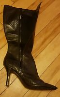 Nine West Sexy Leather Black Knee High Boots - UK Size 7  RRP £180 - Bargain!!!