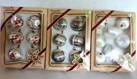 Vtg 3 boxes Pyramid Unbreakable Ornaments Christmas Satin-Sheen Santa Snowflake
