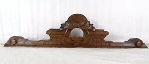 """15""""  Antique French Hand Carved Wood Oak Pediment - For Clock"""