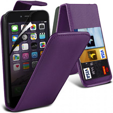 LEATHER FLIP CASE COVER CARD WALLET FOR IPHONE 5 & 5S IN PURPLE * UK SELLER *