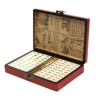 Portable Vintage Mahjong Rare Chinese 144 Tiles Mah-Jong Set  + Leather Case Box
