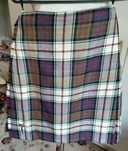 Vintage all wool Scottish Tartan Kilt Alex Dalgety & Son Forfar burgundy white S
