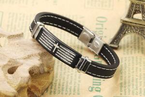 Padre Nuestro Lords Prayer Silicone Black bracelet.(20cm Spanish)Christian Mens