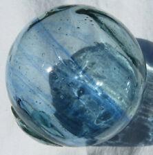 "New listing Japanese Blown Glass Float 3"" Aqua w/Cobalt Blue Swirls Bubbles +Stand"